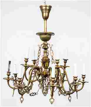 Gothic Revival Patinated Brass Chandelier