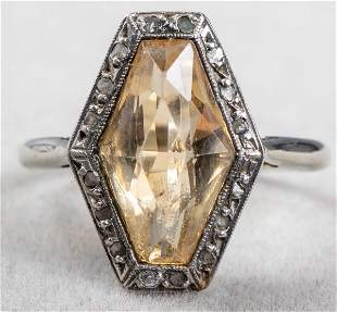Art Deco 18K White Gold Citrine & Diamond Ring