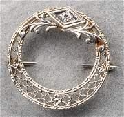 Edwardian 18K White Gold Diamond Filigree Brooch