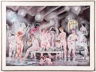 Valentina Sperantova Attr. Bathers Pastel on Paper