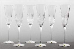 "Waterford ""Lismore Diamond"" Champagne Flutes, 6"