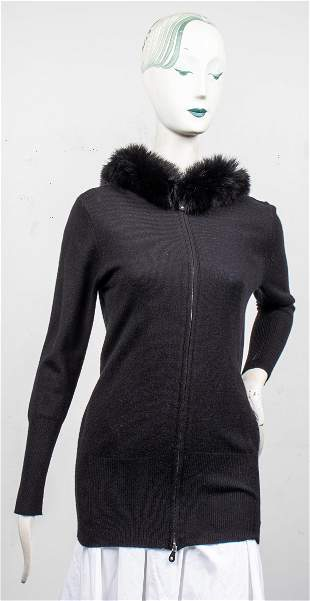 Magaschoni Black Cashmere And Fox Fur Sweater