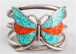 Zuni Silver, Turquoise & Coral Butterfly Bracelet