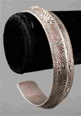 Southwest Native American Solid Silver Cuff Bangle