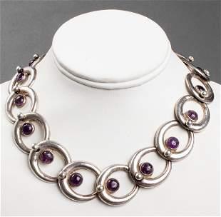 Vintage Taxco Mexican Silver & Amethyst Necklace