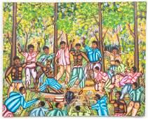 Paul Odvel Haitian Figural Scene Acrylic on Canvas