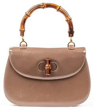 Gucci Brown Leather Bamboo Handle Handbag