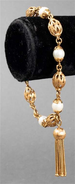 Vintage 14K Yellow Gold Pearl Tassel Bracelet