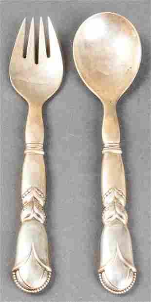 "Georg Jensen ""Ornamental #57"" Silver Salad Servers"