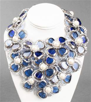 Vilaiwan Faux Pearl & Glass Flower Necklace