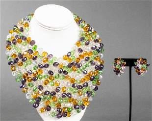 Vilaiwan Bead Necklace & Earrings Set