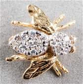 Vintage 14K Yellow Gold Diamond Bee Pin