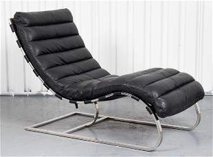 Mid-Century Style Oviedo Leather And Steel Chaise