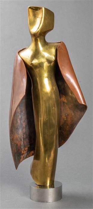 H. Wiemann Figural Bronze And Copper Sculpture