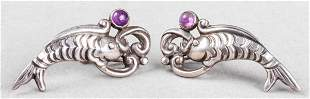 Margot De Taxco Silver Amethyst Aquatic Earrings