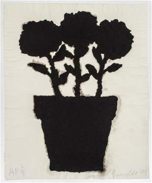 "Donald Baechler ""Flower Pot"" Ink on Paper Print"