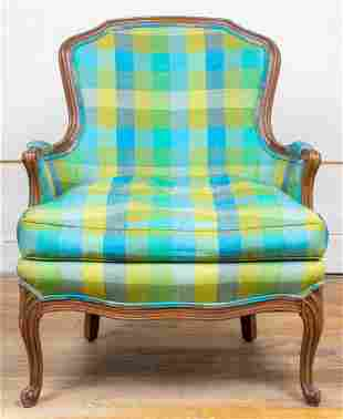 Louis XV Style Plaid Upholstered Bergere