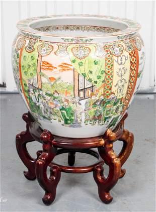 Chinese Famille Verte Porcelain Jardiniere