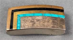 Taxco SilverBase Metal Onyx Turquoise Belt Buckle