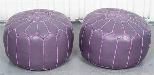 Modern Purple Leather Upholstered Ottomans, Pair