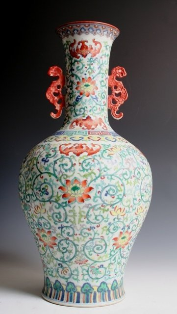 Large Chinese Ducai Vase with Jia Chien Mark
