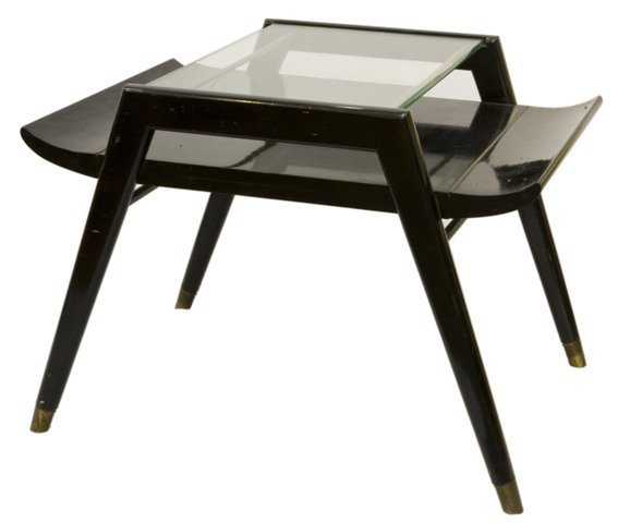 Pair of 50s-Modern Glass-Topped Side Tables