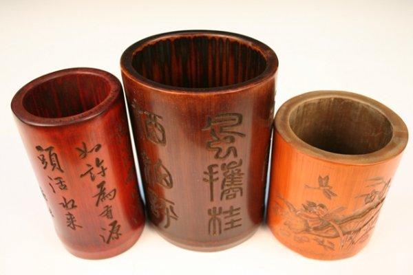 Set of 3 Chinese Bamboo Brush Pots 20th C.