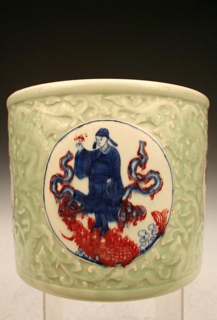 Chinese Celadon-&-Ducai-Glaze Porcelain Brush Pot