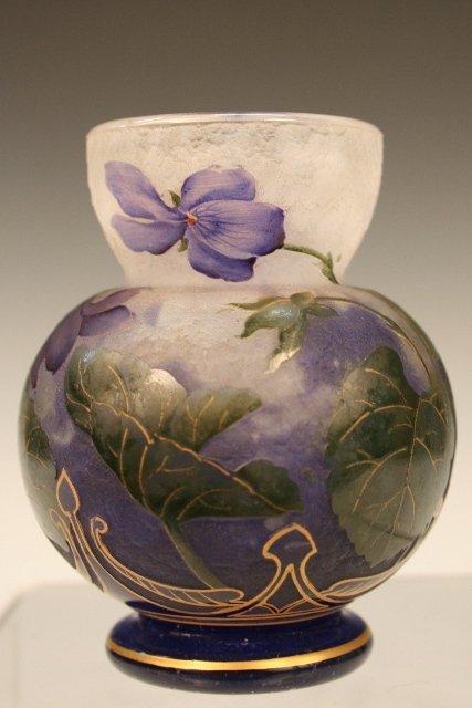 Daum Nancy Glass Vase w/ Enameled Flowers