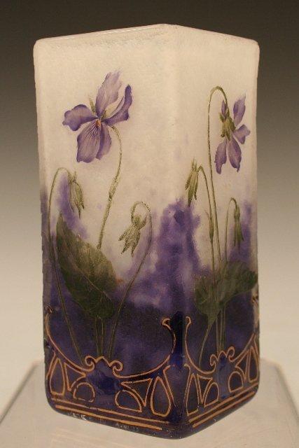 Daum Nancy Square Glass Vase w/ Flowers