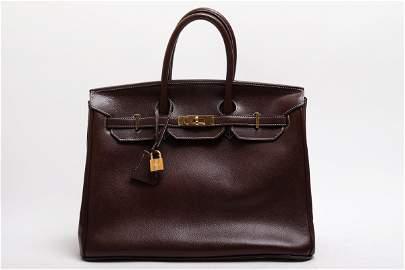 Brown Leather 35cm Handbag