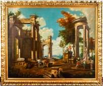 Italian School Architectural Fantasy Antique Oil