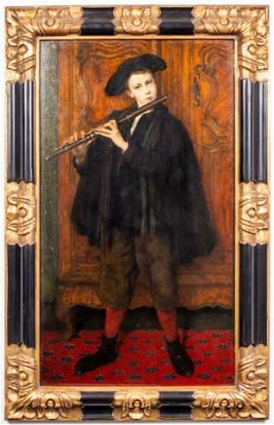 """Cesare Auguste Detti """"Musician"""" Oil on Panel"""