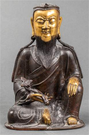 Parcel Gilt Bronze Figure Of A Scholar With Ruyi