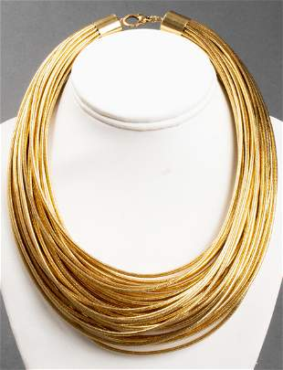 Italian 14K Yellow Gold & Gold-Tone Cord Necklace