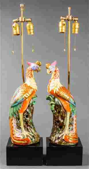 Chinese Export Porcelain Phoenix Lamps, Pair
