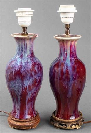 Chinese Flambe Glazed Vase Table Lamps, Pr