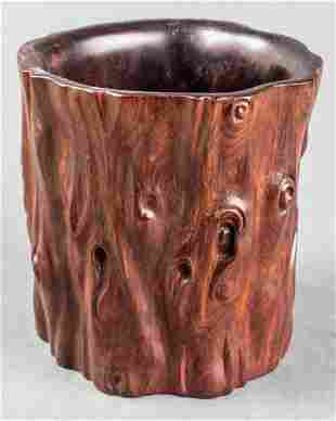 Chinese Carved Rootwood Bitong Brush Pot