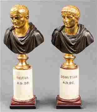 19th C. Gilt Bronze Busts of Domitian And Nerva