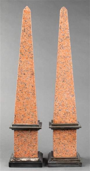 Large Grand Tour Granite Obelisks, Pair