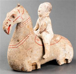 Chinese Han Dynasty Polychrome Horse & Rider