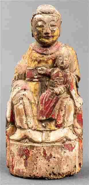 Chinese Ming Wood Figure of Guanyin Seated W Child