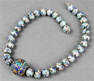 19th Century Chinese Silver Enamel Necklace
