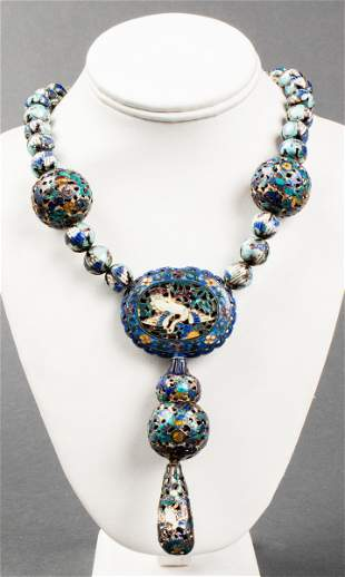 19th Century Chinese Silver & Enamel Necklace