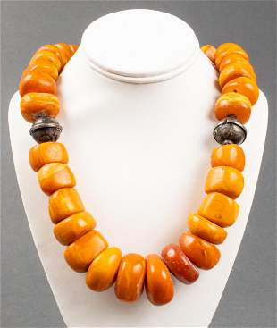 Antique Silver Natural Baltic Amber Bead Necklace