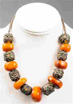 Antique Natural Baltic Amber & Enamel Necklace