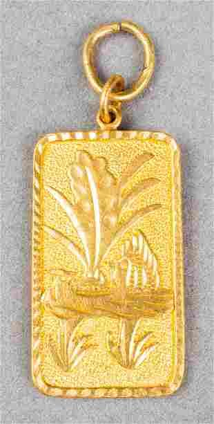 Vintage Chinese 24K Fine Gold Carved Bar Pendant