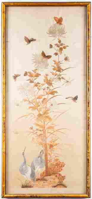 Chinese Silk Embroidery Panel with Cranes