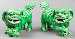 Chinese Green Glaze Pottery Foo Dogs, Pair