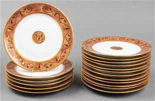 """Limoges """"Grape & Vine"""" Porcelain Plates, 18"""